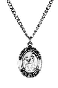 Sterling Silver Catholic Patron Saint Catherine Medal Pendant, 1 Inch