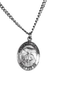 Sterling Silver Catholic Patron Saint Catherine Laboure Medal Pendant, 1 Inch
