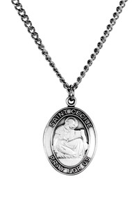 Sterling Silver Catholic Patron Saint Cecile Medal Pendant, 1 Inch