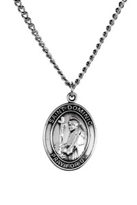 Sterling Silver Catholic Patron Saint Dominic Medal Pendant, 1 Inch