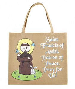 Tan Nylon Saint Francis of Assisi Tote Bag, 13 Inch
