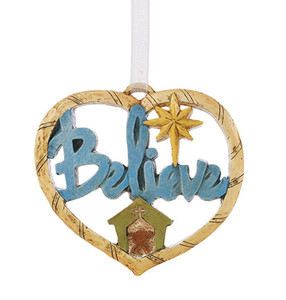 Believe Heart Shaped Resin Christmas Ornament, 3 Inch