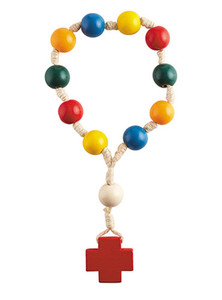 Child's Multi-colored Wood Prayer Bead Door Knob Rosary, 12 Inch