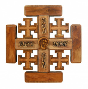 God Bless Our Home Wood Jerusalem Wall Cross, 7 1/4 Inch