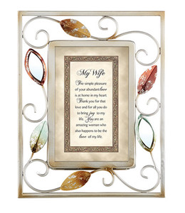 Heartfelt Tabletop Picture Frame with My Wife Scripture, 9 Inch