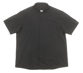 Liturgical Creations Mens Short Sleeve Single Pocket Clergy Shirt, Cotton Polyester Blend