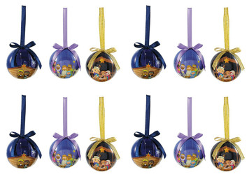 Assorted Children's Decoupage Nativity Christmas Ornament, 2 Inch, Pack of 24