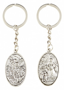 Silver Tone Guardian Angel and Saint Michael Medal Key Chain, 4 Inch