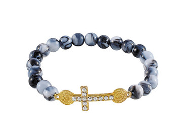 Black Faux Marble Bead Saint Benedict Cross Stretch Bracelet, 7 Inch