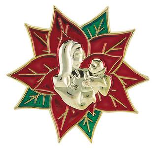 Zinc Alloy Enamel Madonna and Child Poinsettia Christmas Lapel Pin, 1 3/4 Inch