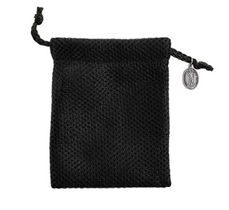 Black Nylon Mesh Rosary Bag with Silver Tone Saint Sebastian Medal, 6 Inch
