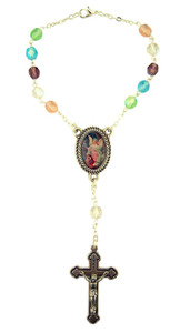 Multi Color Glass Prayer Bead Auto Rosary with Guardian Angel Center, 5 1/2 Inch