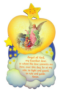 Guardian Angel Wooden Wall Plaque with Gold Foil Accents, 7 Inch