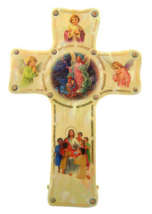 Guardian Angel Pearlized Enamel Acrylic Wall Cross with Gold Foil Accents, 6 Inch