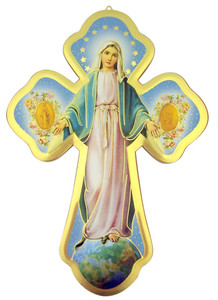 Our Lady of Grace Wooden Wall Cross with Gold Foil Accents, 5 1/2 Inch