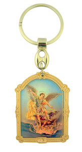 Wooden Catholic Guardian Angel Icon with Gold Leaf Stamp Design on Key Ring, 3 1/2 Inch