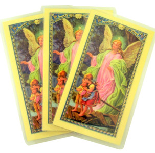 Laminated Guardian Angel with Children Holy Card with Prayer on Back, Pack of 3