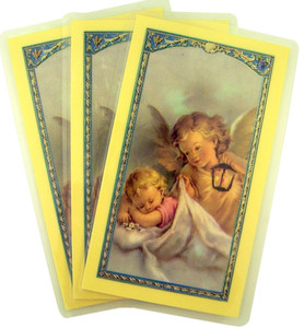 Laminated Angel with Sleeping Child Holy Card with Prayer on Back, Pack of 3