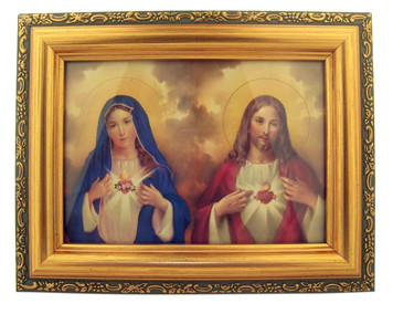 Italian Lithograph The Sacred Hearts Print in Antique Gold Tone Frame with Glass, 6 1/2 Inch