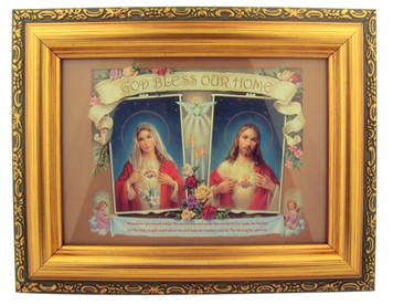 Italian Lithograph Sacred Hearts Bless Our Home Print in Antique Gold Tone Frame with Glass, 6 1/2 Inch
