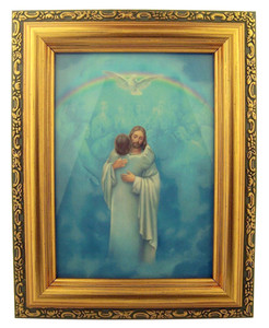 Italian Lithograph Christ Welcome Home Print in Antique Gold Tone Frame with Glass, 6 1/2 Inch