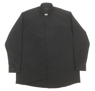Liturgical Creations Mens Long Sleeve Single Pocket Clergy Shirt, Cotton Polyester Blend