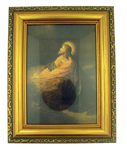 Italian Lithograph Gethsemane Print in Antique Gold Tone Frame with Glass, 6 1/2 Inch
