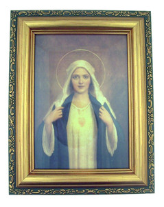 Italian Lithograph Immaculate Heart of Mary Print in Antique Gold Tone Frame with Glass, 6 1/2 Inch