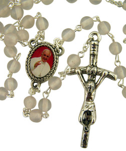 Acrylic White Prayer Bead Rosary with Pope Francis Center and Papal Crucifix, 14 Inch