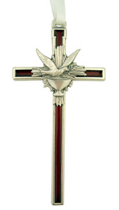 Red Enamel Hanging Confirmation Cross with Silver Tone Holy Spirit and Chalice, 5 Inch