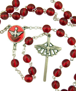 Red Acrylic Bead Confirmation Rosary with Holy Spirit Center and Cross, 15 Inch