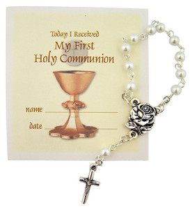 My First Holy Communion One Decade Rosary with Holy Prayer Card, 2 1/2 Inch