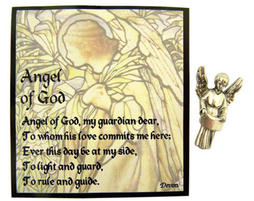 Guardian Angel of God Statue Pocket Medal with Holy Prayer Card, 1 Inch
