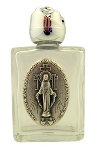 Glass Holy Water Bottle with Silver Tone Miraculous Medal and Rosebud Lid