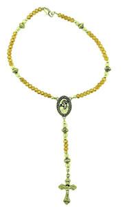 Saint Christopher One Decade Auto Rosary with Yellow Acrylic Prayer Bead, 9 Inch