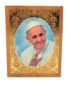 Gold Embossed Pope Francis Icon on Felt Lined Natural Wood Rosary Box, 2 3/4 Inch