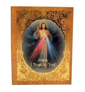 Gold Embossed Divine Mercy Icon on Felt Lined Natural Wood Rosary Box ,2 3/4 Inch