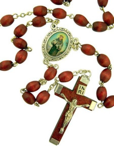 Brown Wood Prayer Bead Saint Francis of Assisi Rosary, 14 Inch