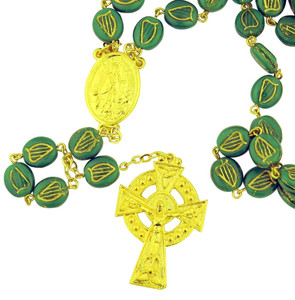 Green Glass Shamrock Prayer Bead Irish Rosary with Saint Patrick Center, 25 Inch