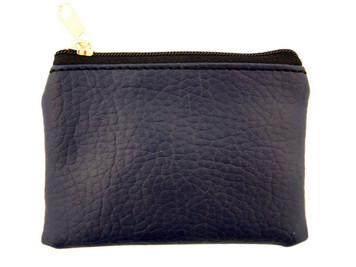 Dark Blue Leather Textured Lined Rosary Pouch with Zipper Close, 3 1/2 Inch
