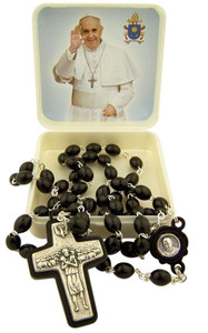 Black Wood Prayer Bead Pope Francis Rosary with Good Shepherd Crucifix, 17 Inch