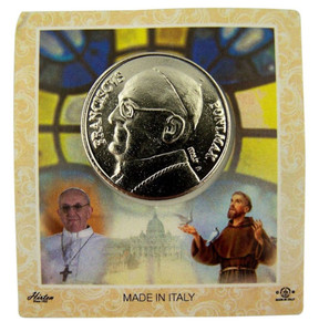 Silver Tone Pope Francis Pocket Token with Commemorative Card, 1 1/8 Inch