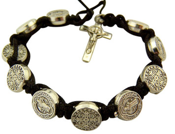 Silver Tone Saint Benedict Medal and Crucifix on Black Cord Bracelet, 7 Inch