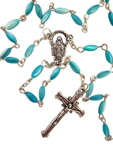 Light Blue Pearlescent Glass Bead Our Lady of Grace Rosary, 21 Inch