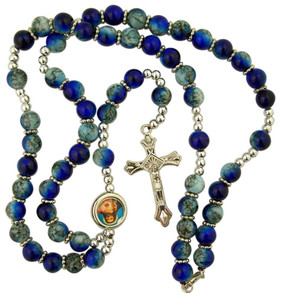 Blue Prayer Bead Rosary Necklace with Colored Scapular Centerpiece, 17 Inch
