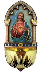 Sacred Heart of Jesus Gold Embossed Laser Cut Wood Multi-Dimensional Water Font