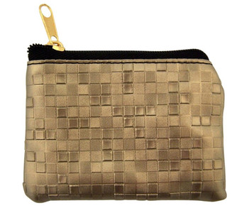 Pewter Mosaic Pattern Leather Zipper Rosary Pouch, 3 1/2 Inch