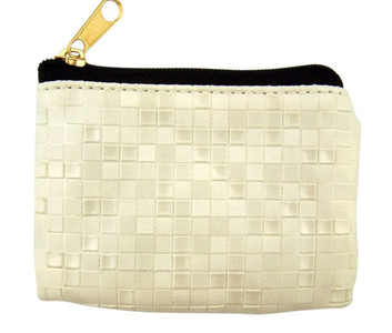 White Mosaic Pattern Leather Zipper Rosary Pouch, 3 1/2 Inch