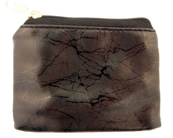 Black Marble Pattern Leather Zipper Rosary Pouch, 3 1/2 Inch