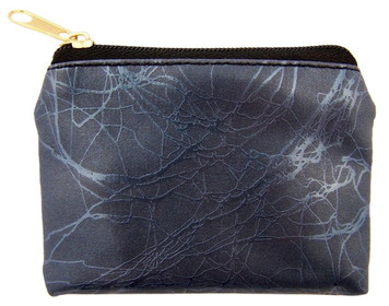 Navy Blue Marble Pattern Leather Zipper Rosary Pouch, 3 1/2 Inch